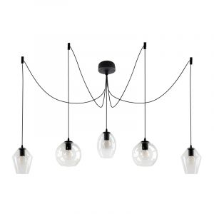 Design plafondlamp Lazaro met 5 glazen transparante kappen