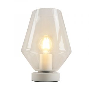 Witte glazen design tafellamp Mavis, transparante diamant