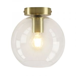 Design gouden glazen plafondlamp Marwin,transparante glazen bol