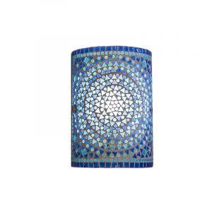 Blauwe oosterse wandlamp Mahdia, mozaiek
