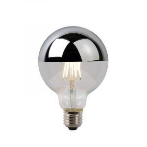 LED filament bollamp, 9,5 cm doorsnede, 5 Watt, Zilveren bovenkant