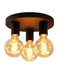 Zwarte moderne plafondlamp Rami, 3L