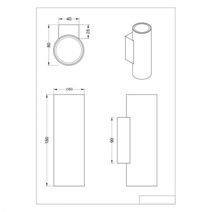 Witte wandlamp Rude, Modern