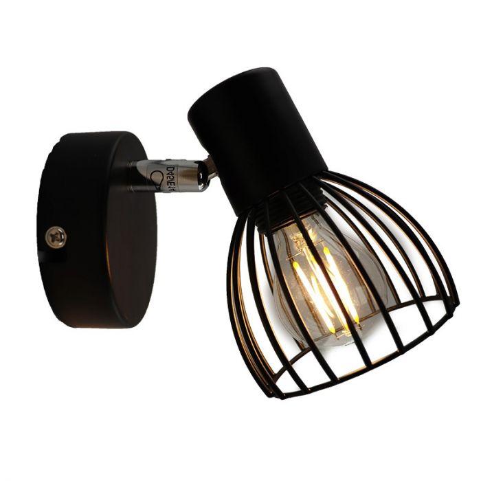 Industriële wandlamp Adama, Zwart