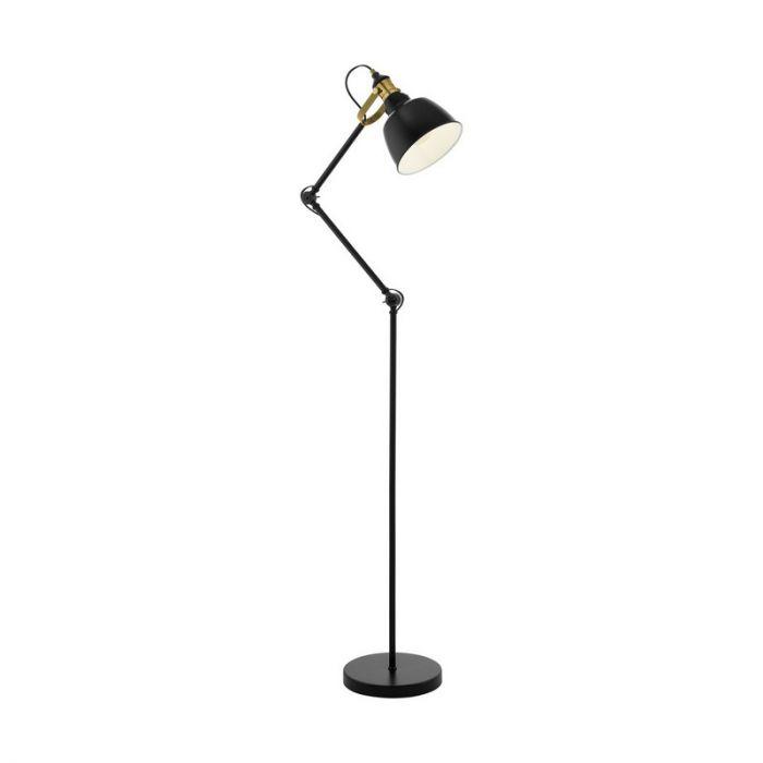 Landelijke vloerlamp Jordan Staal Zwart/Bronskleur