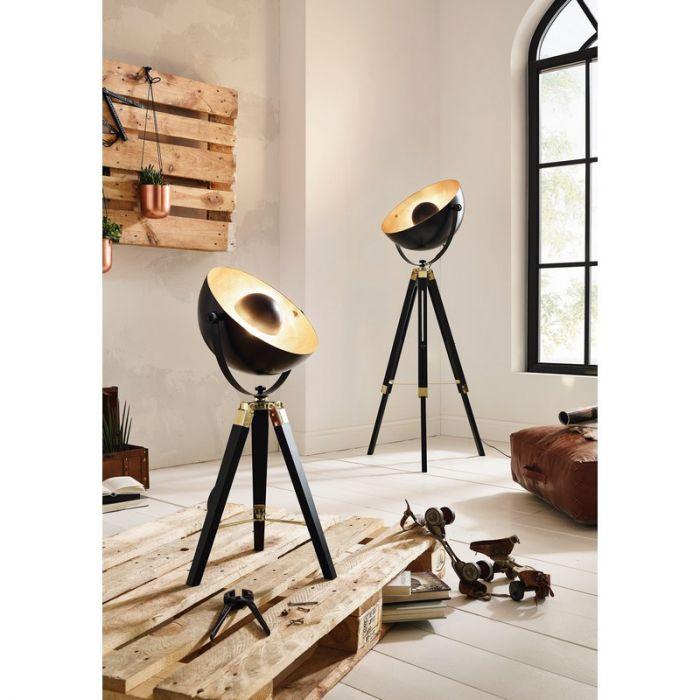 Moderne tafellamp Robin Hout/Staal Zwart/Messing/Goud