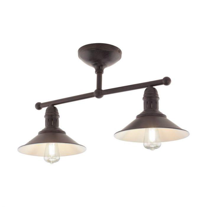Landelijke plafondlamp Charlie Staal Antiek Bruin/Beige