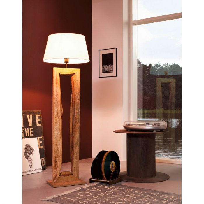 Landelijke vloerlamp Kick Hout Bruin