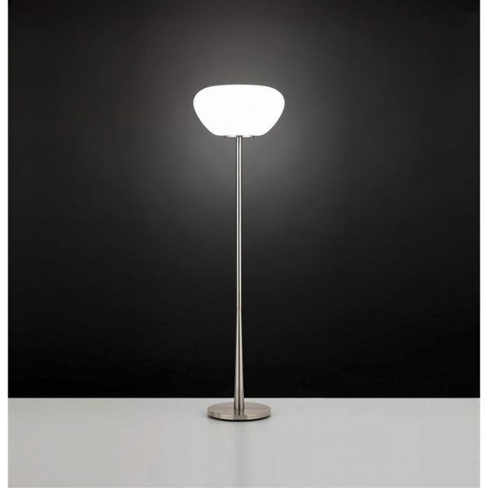 Stalen vloerlamp Vita nikkel