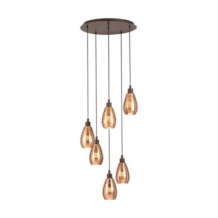 Stalen hanglamp Kik bruin
