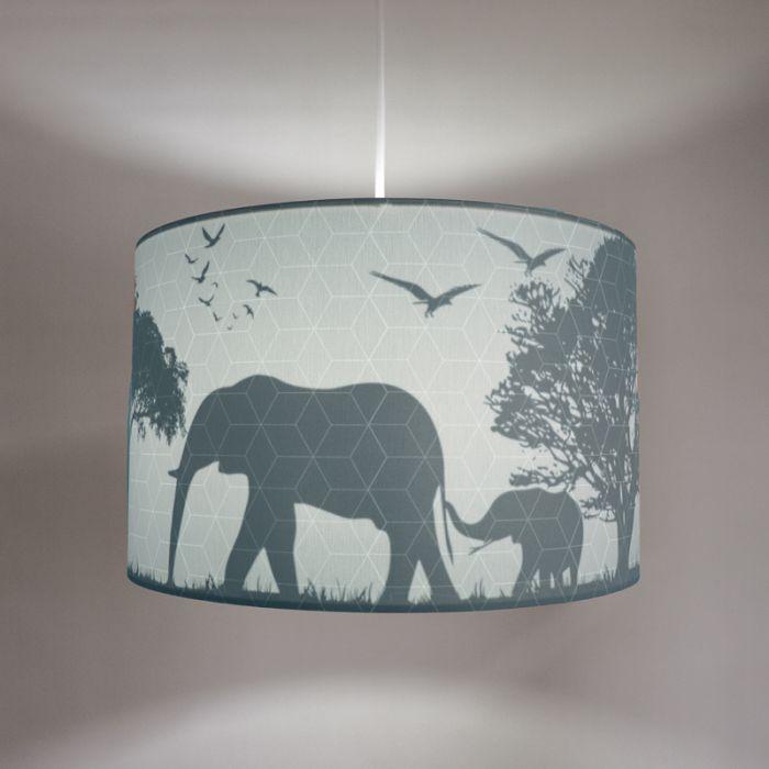 Blauwe dieren hanglamp Safari, Binnenzijde doorschijnend