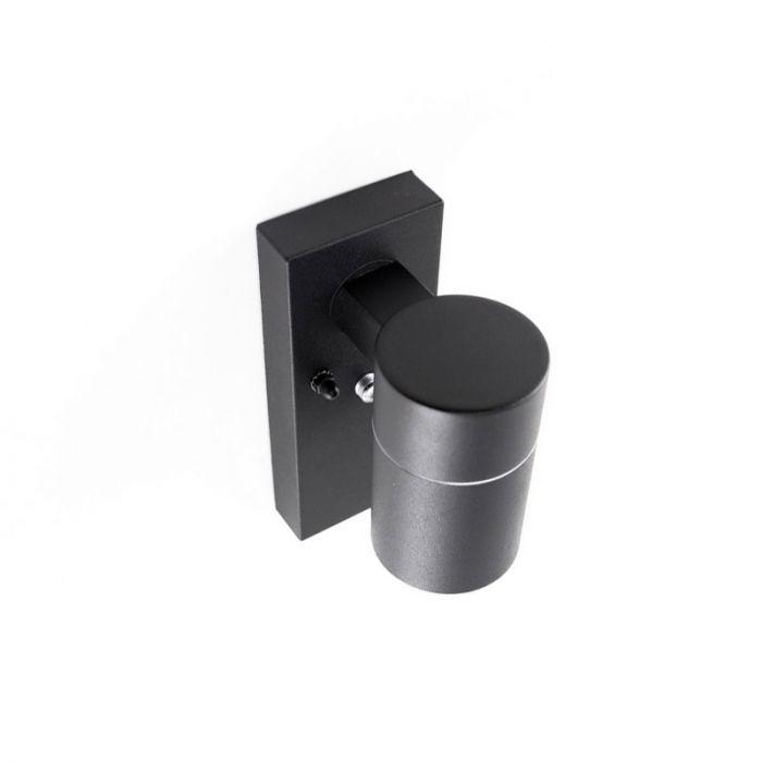 Zwarte buitenlamp, schemersensor Gerjo, roestvrij staal (rvs)