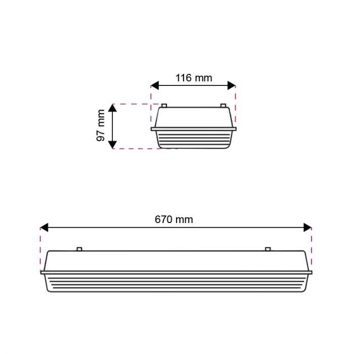 60 cm waterdicht LED TL armatuur Dura, voor 2 TL's