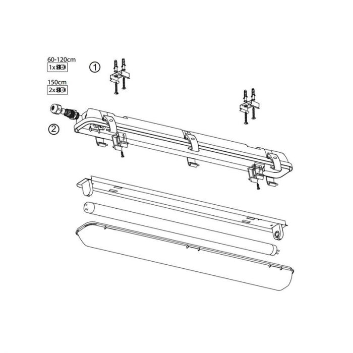 120 cm waterdicht LED TL armatuur Dura, voor 2 TL's
