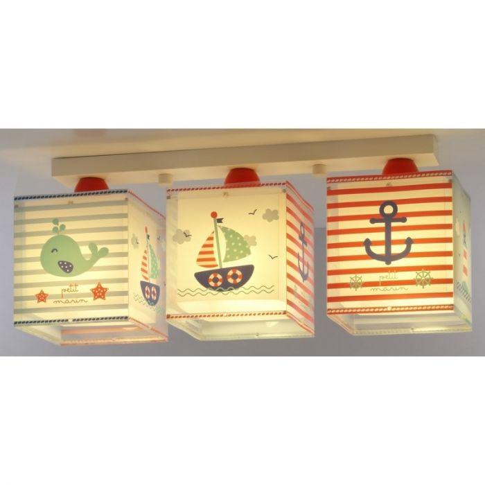Marine plafondlamp kinderen - Blauw Rood