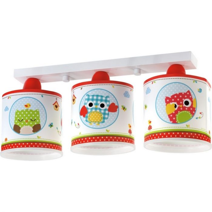 Kinder plafondlamp Uilen - Wit Rood