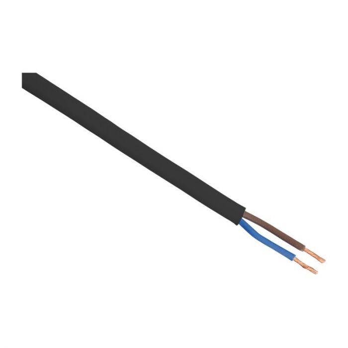 5 meter Huishoudsnoer plat, belastbaar tot 1200W 2 x 0.75 mm, Zwart