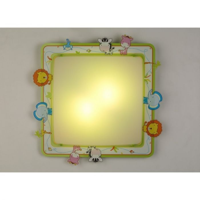 Groene plafondlamp Dierentuin kinderkamer