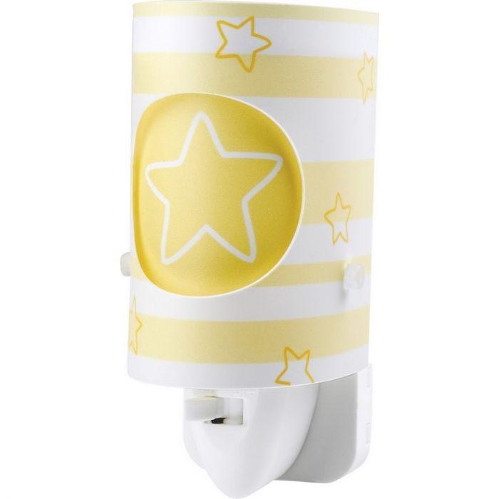 Gele babykamer stekker wandlamp bloemetjes