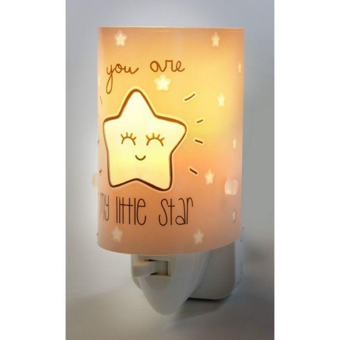 Roze nachtlampje Star - Meisjes babykamer