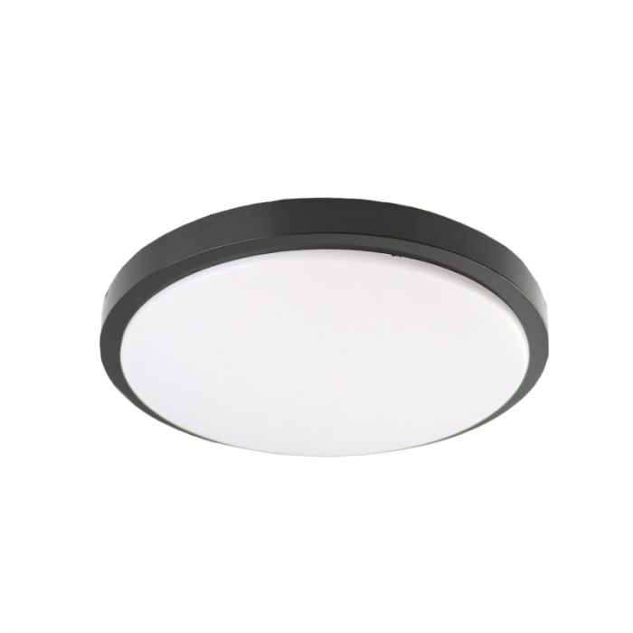 Moderne plafonniere Kos, zwart, groot, met integreert LED