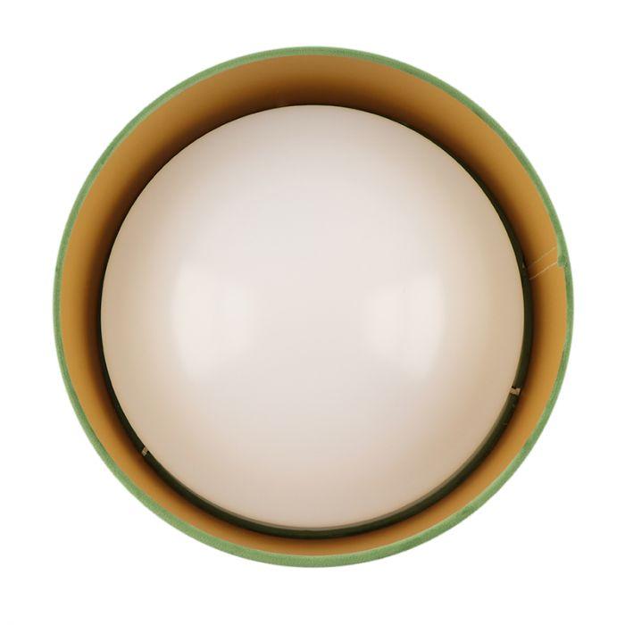 Olijfgroene velours plafondlamp met gouden binnenzijde