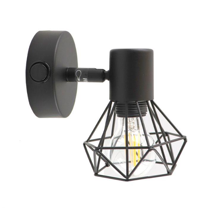 Industriële wandspot Jaylano, met schakelaar, zwart