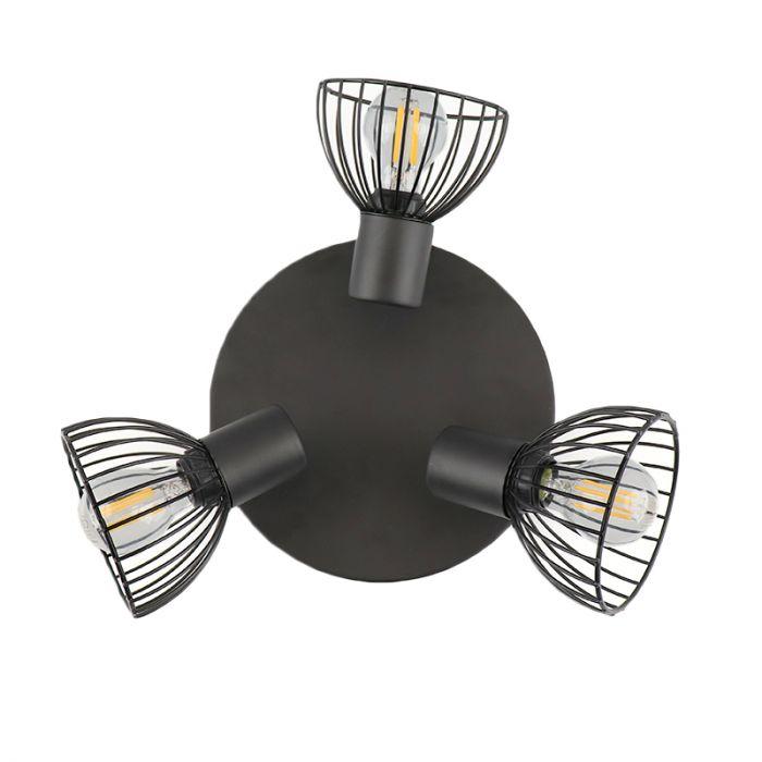 Industriële Ronde plafondspot Bram, zwart, 3L