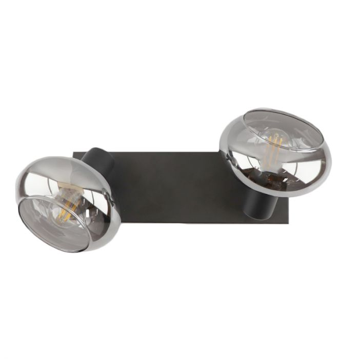 Design plafondspot Skip, zwart, glas, 2L