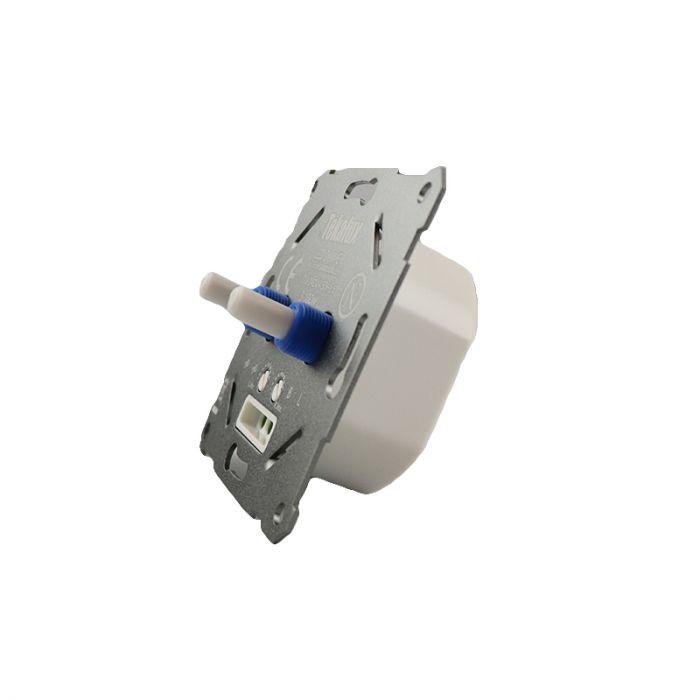 Duo dimmer, switch, met witte afdekraam en centraalplaat