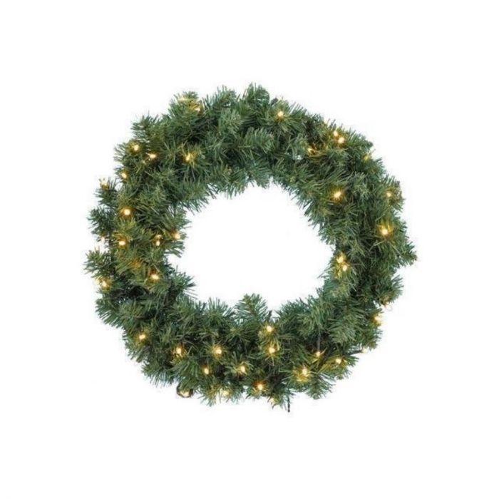 Groene kerstkrans Lesley, 75 cm, incl. 50 leds
