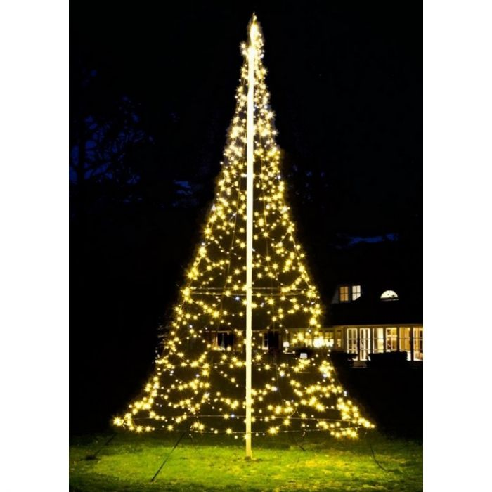 6M hoge vlaggenmast kerstboom, 1200 twinkelende lampjes
