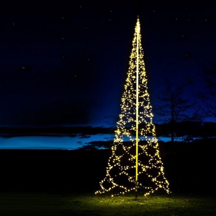 10m hoge vlaggenmast kerstboom, 2000 lampjes
