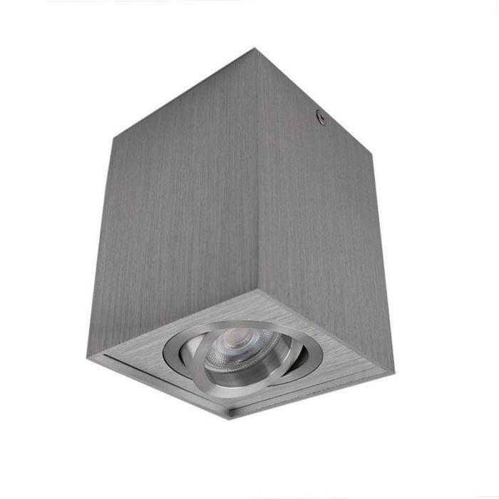 Vierkante, zilvergrijze opbouwspot Dane, Richtbaar