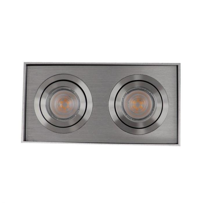 Rechthoekige, zilvergrijze opbouwspot Dane, 2-spots, Richtbaar