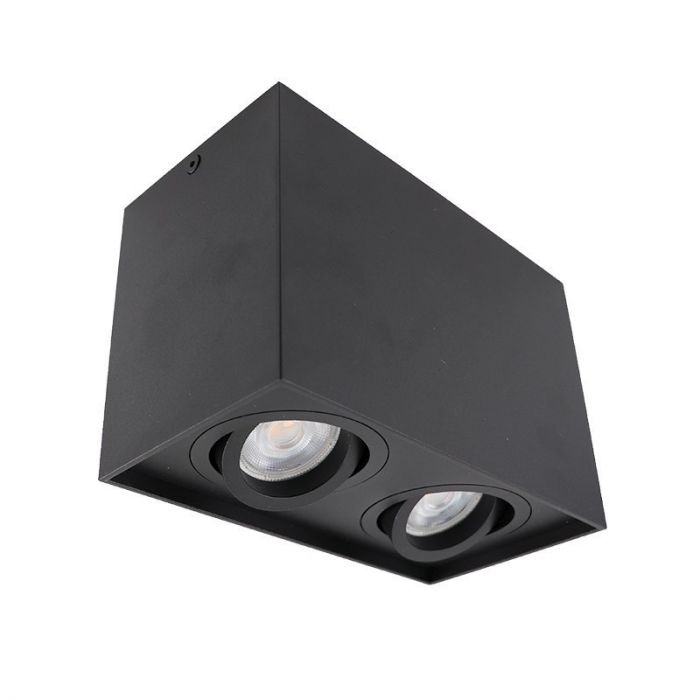 Rechthoekige, zwarte opbouwspot Dane, 2-spots, Richtbaar