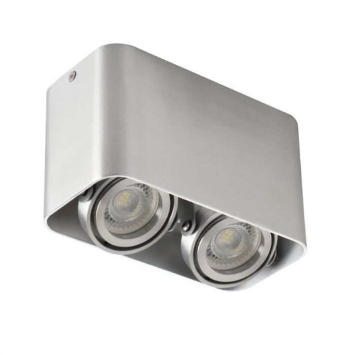 Moderne, zilvergrijze opbouwspot Bera, 2-spots, Richtbaar spotje