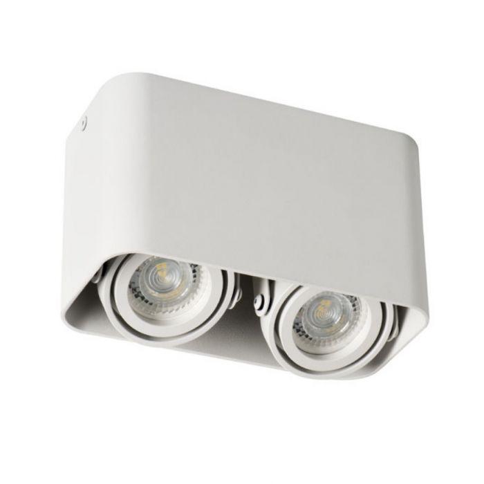 Moderne, witte opbouwspot Bera, 2-spots, Richtbaar spotje