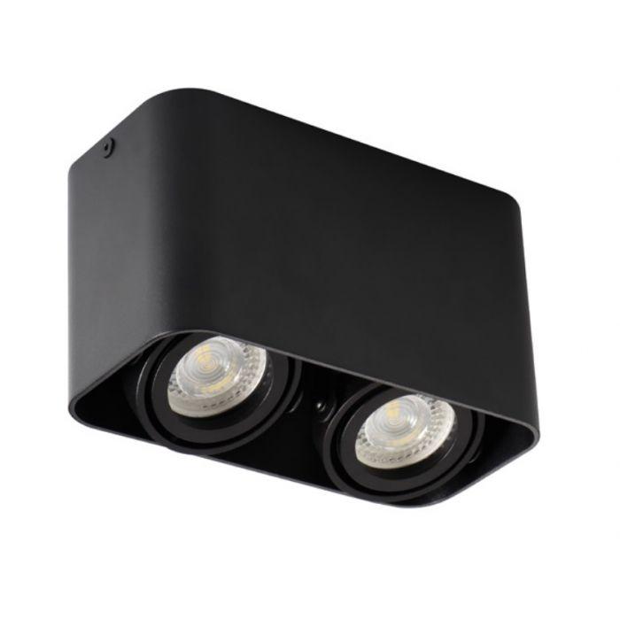 Moderne, zwarte opbouwspot Bera, 2-spots, Richtbaar spotje