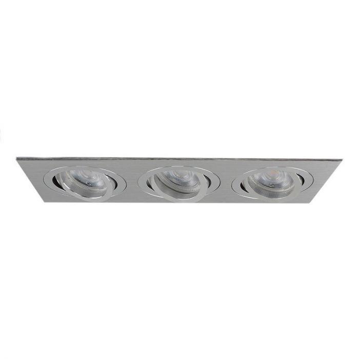 Zilvergrijze 3-spots inbouwspot Heido