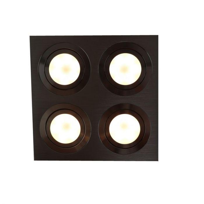 Zilvergrijze 4-spots, vierkante inbouwspot Heido
