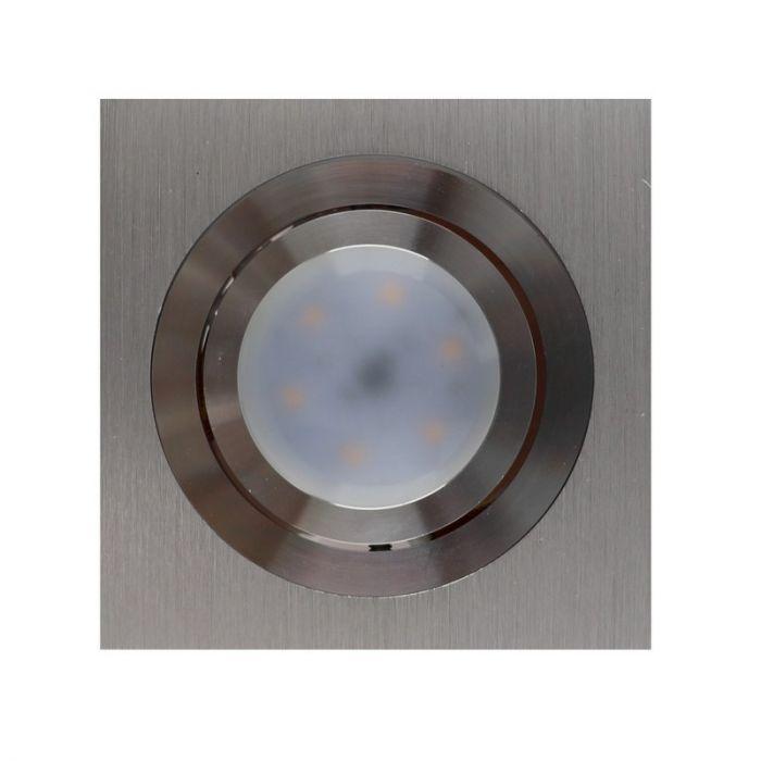 Zilvergrijze vierkante inbouwspot Heido