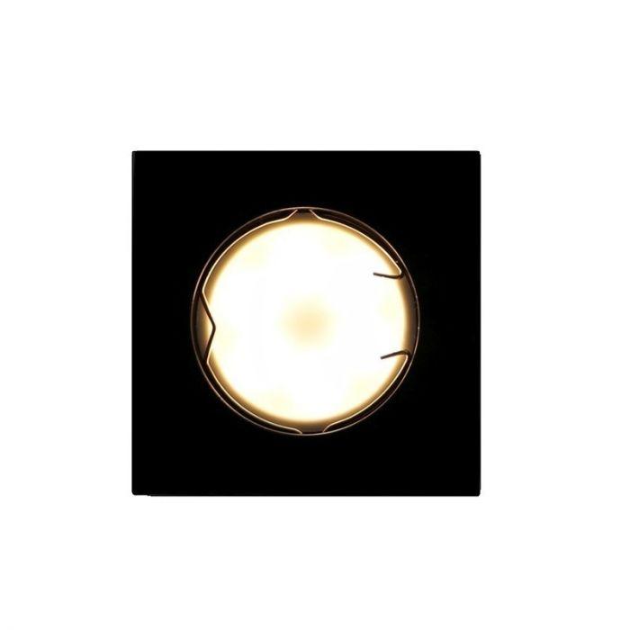 Zwarte vierkante inbouwspot Ravi