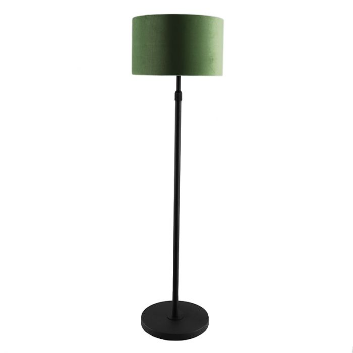 Staande vloerlamp Kristien, met groen/goud velours kap