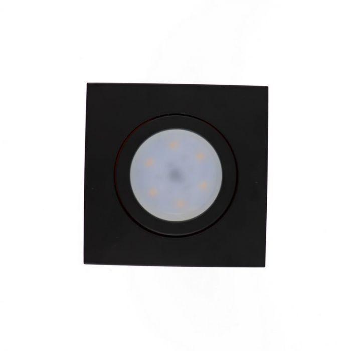 Zwarte vierkante inbouwspot Onno, kantelbaar