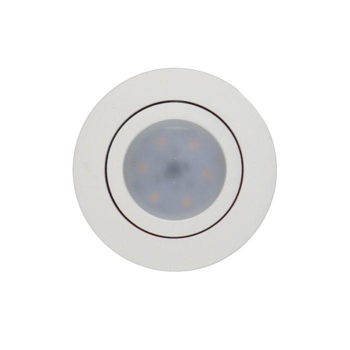 Witte ronde inbouwspot Onno, kantelbaar