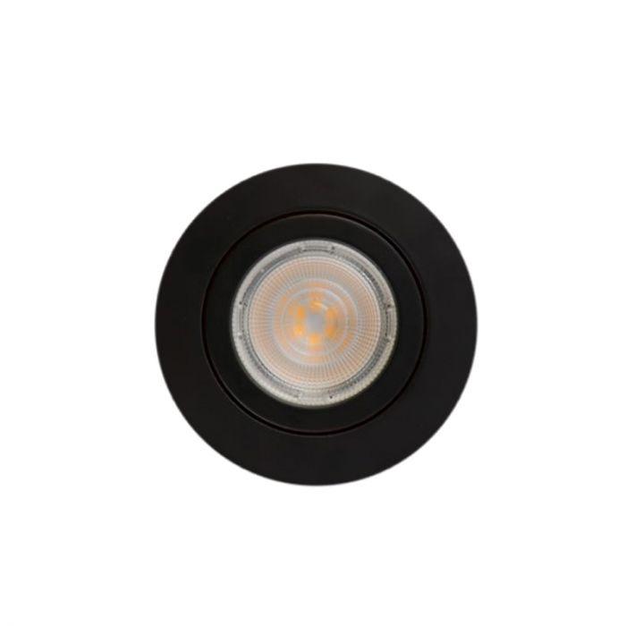 Zwarte ronde inbouwspot Onno, kantelbaar