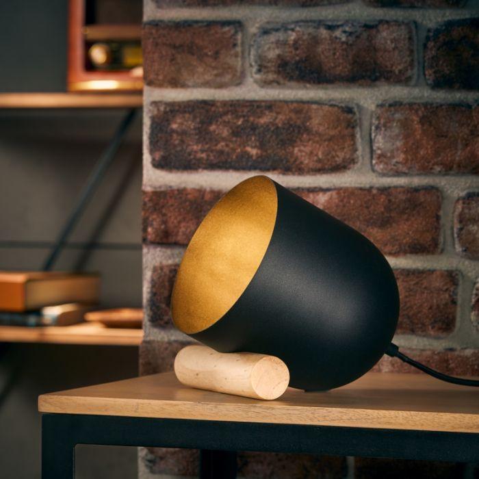 Moderne Tafellamp Riaz, Metaal, met Aan/uit schakelaar op het snoer
