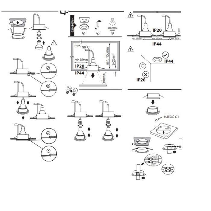 Vierkante badkamer inbouwspot Pelle, wit