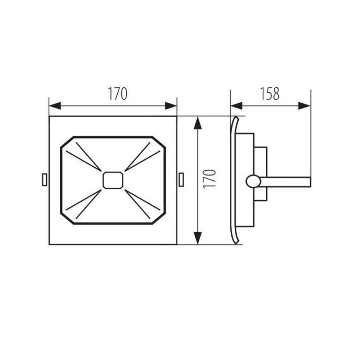 Waterbestendige schijnwerper Roda, zwart - 30 Watt